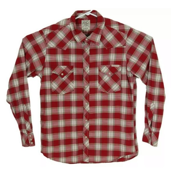 Lucky Brand Western Style Pearl Snap Shirt Men's M